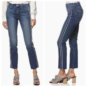 Paige Hoxton Straight Ankle Indigo Cream Jeans